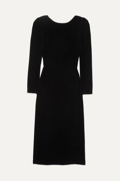 Long-Sleeve Back Bow Classic Silk-Viscose Velvet Dress W/ Crystal Trim in Black