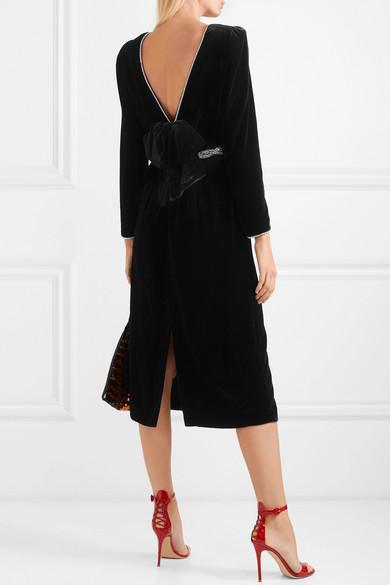 Gucci Dress Crystal-embellished bow-detailed velvet dress