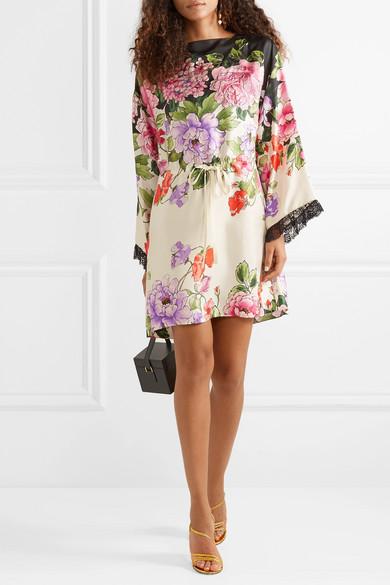 Gucci Dress Embellished floral-print silk-twill mini dress