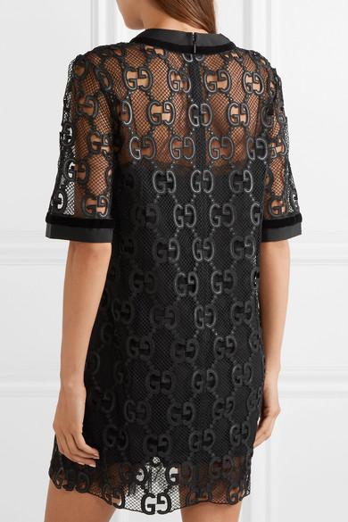 Gucci Dress Velvet and grosgrain-trimmed macramé mini dress