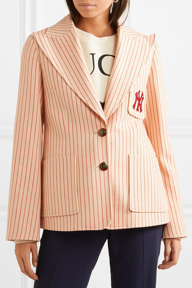 gucci new york yankees embroidered striped wool blazer. Black Bedroom Furniture Sets. Home Design Ideas