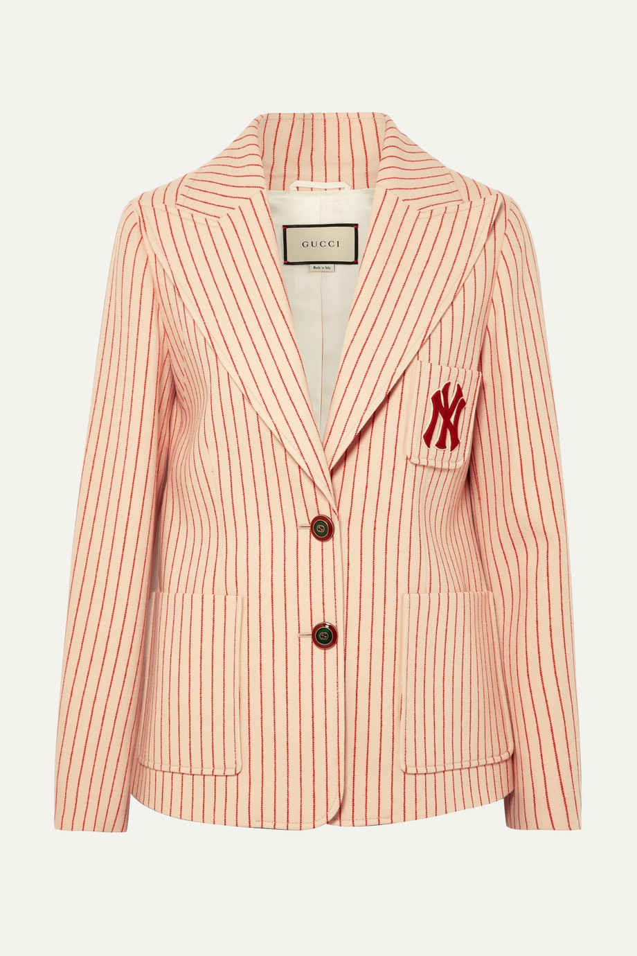 Gucci + New York Yankees embroidered striped wool blazer