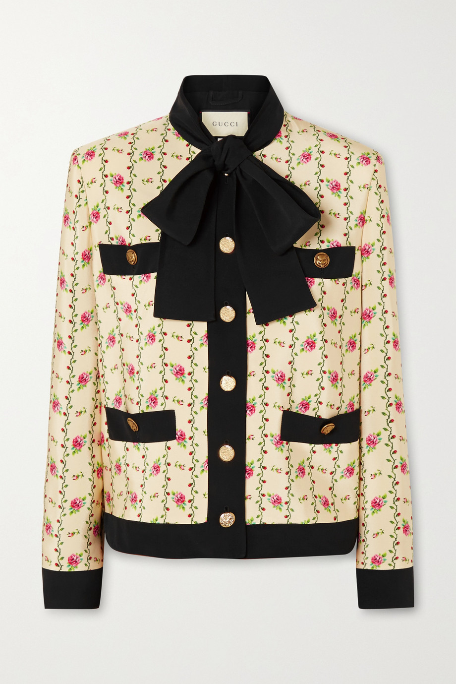 Gucci 花卉印花真丝马罗坎平纹绉外套