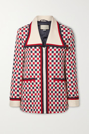 Gucci Checked grosgrain-trimmed wool-blend crepe jacket