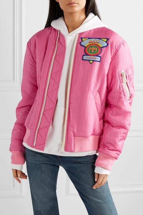 Appliquéd satin-shell bomber jacket