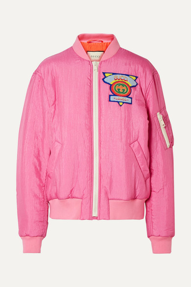 Appliquéd Satin-Shell Bomber Jacket in Pink