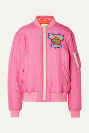 Gucci Appliquéd satin-shell bomber jacket