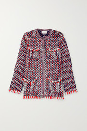 Crystal-embellished wool-blend bouclé-tweed jacket
