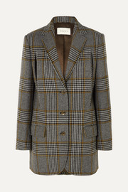 Cape-effect Prince of Wales checked wool-blend blazer