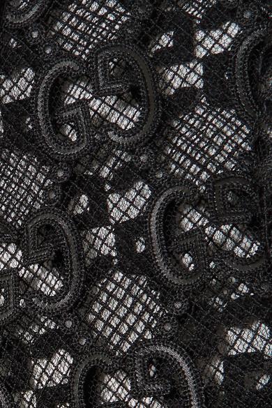 Gucci Jackets Velvet and grosgrain-trimmed macramé lace jacket