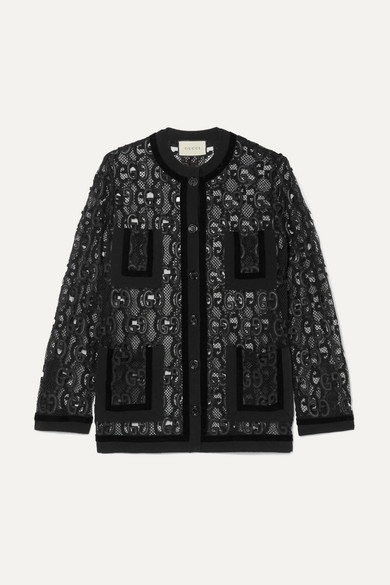 Gucci - Velvet And Grosgrain-trimmed Macramé Lace Jacket - Black