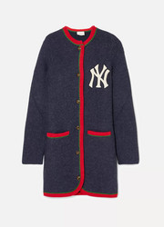 Gucci + New York Yankees embroidered alpaca and wool-blend cardigan