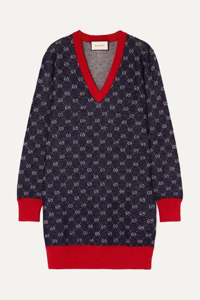 Wool And Alpaca-Blend Jacquard Dress, 4205 Blue