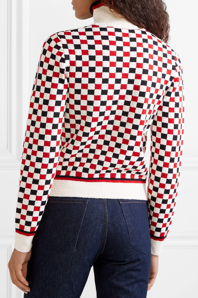 Gucci Tops Checked wool-blend and terry turtleneck sweater