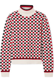 Gucci Checked wool-blend and terry turtleneck sweater