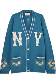 Gucci + New York Yankees oversized appliquéd wool cardigan