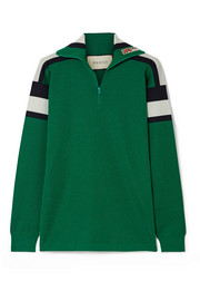 Gucci Embroidered striped wool, silk and cashmere-blend sweater
