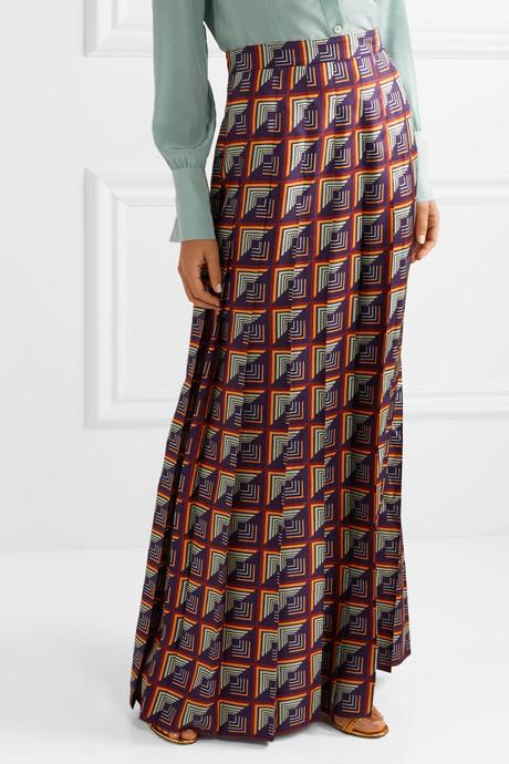 Pleated printed silk-twill maxi skirt