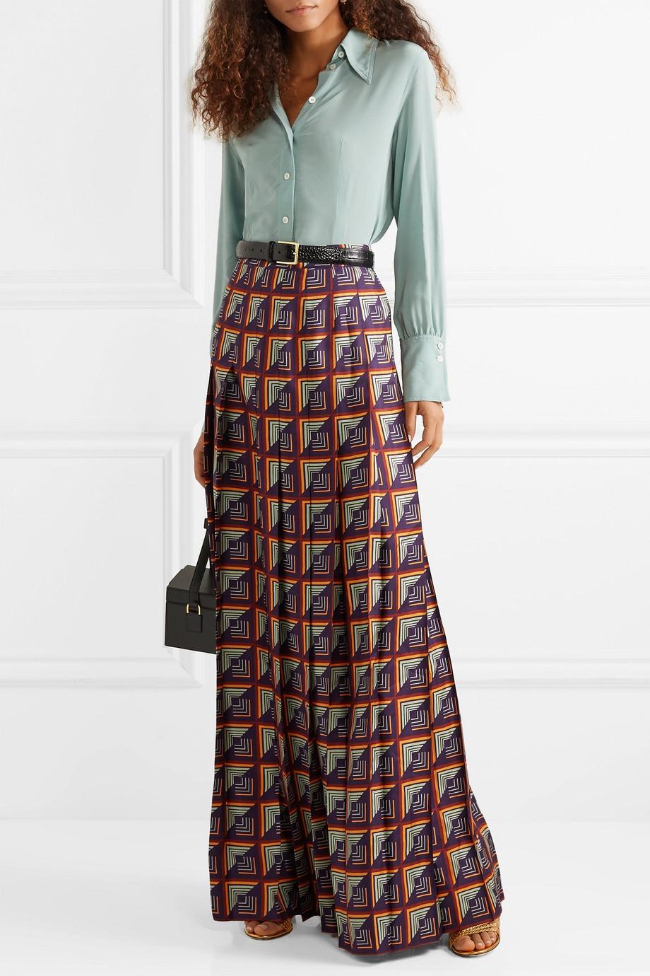 Gucci Pleated printed silk-twill maxi skirt