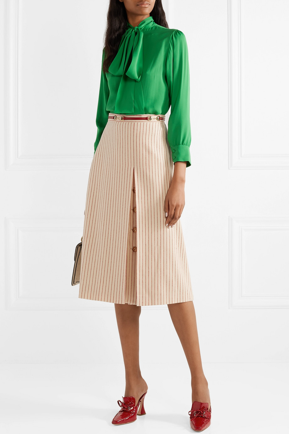 Gucci Leather-trimmed paneled pinstriped wool midi skirt