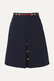 Gucci Leather-trimmed wool and silk-blend midi skirt