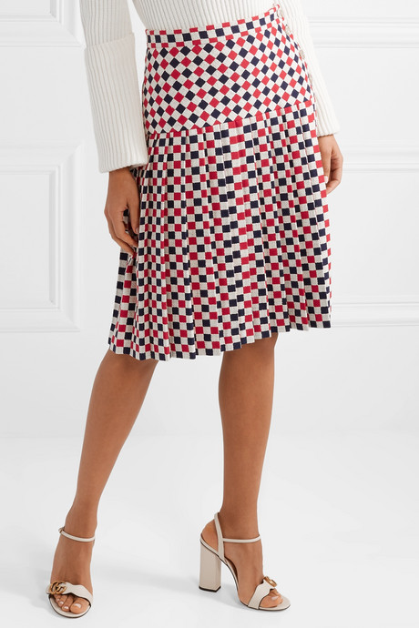 Pleated checked wool-blend crepe midi skirt