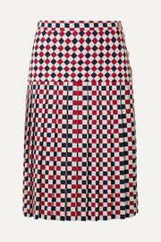 Gucci Pleated checked wool-blend crepe midi skirt