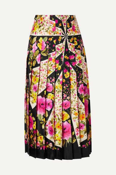 Gucci - Pleated Floral-print Silk-twill Midi Skirt - Pink
