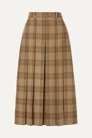 Belted checked wool midi skirt