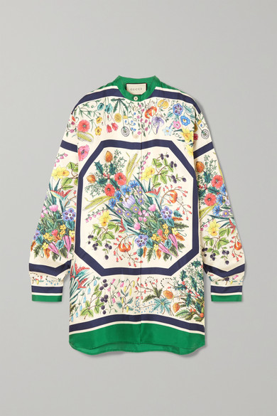 Oversized Printed Silk Twill Shirt by Gucci