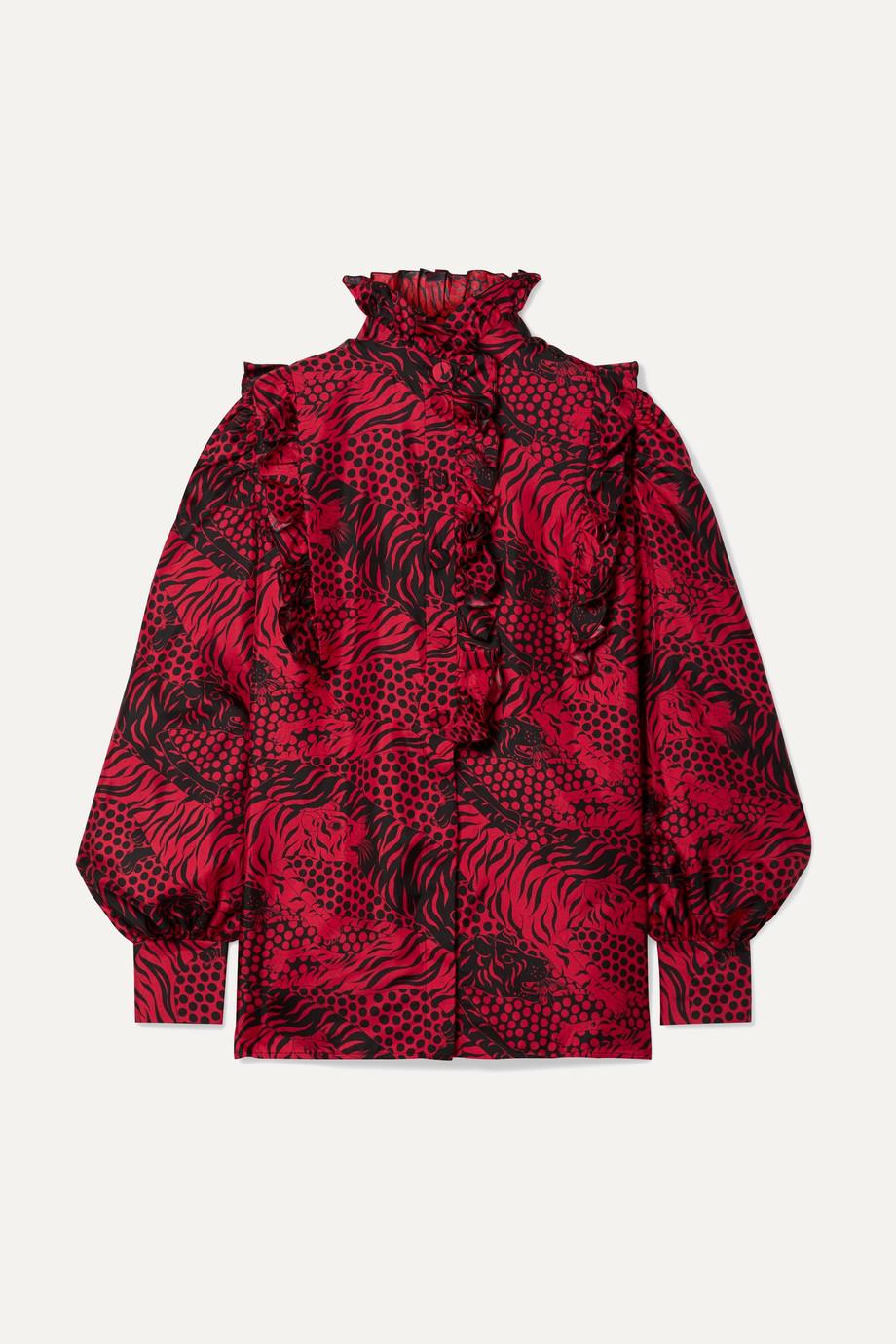 Gucci Ruffled printed silk-twill shirt