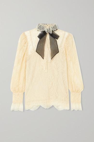 b623185a396544 Gucci | Pussy-bow lace blouse | NET-A-PORTER.COM
