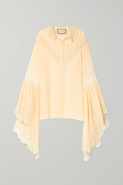 Oversized lace-trimmed silk-chiffon blouse