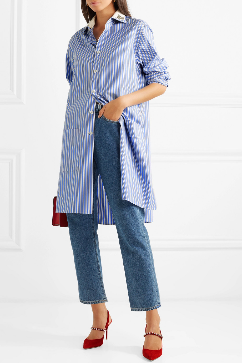 Gucci Oversized striped cotton tunic