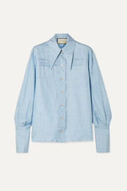 Gucci Pintucked silk-georgette shirt