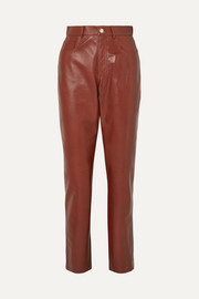 Glossed-leather straight-leg pants