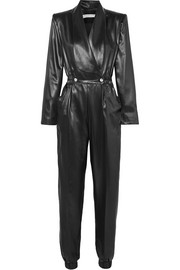 Double-breasted faux leather jumpsuit