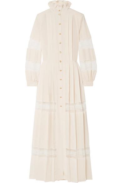 Philosophy di Lorenzo Serafini - Pleated Lace-paneled Crepe De Chine Maxi Dress - Cream