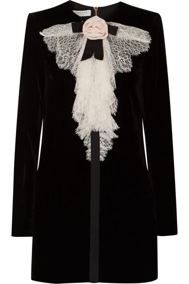 Philosophy di Lorenzo Serafini - Lace-trimmed Velvet Mini Dress - Black