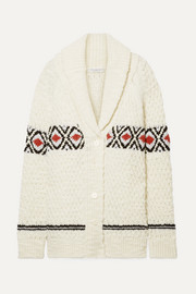 Oversized intarsia wool cardigan