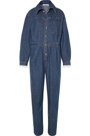 Lace-trimmed denim jumpsuit