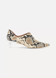REJINA PYO Este snake-effect leather pumps