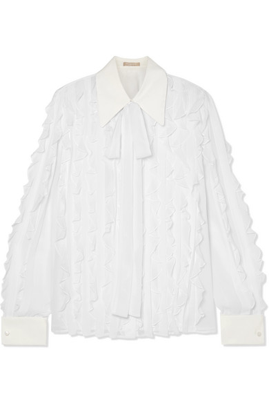 MICHAEL KORS Pussy-bow ruffled silk-chiffon blouse