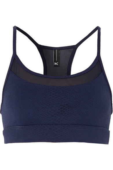 Koral - Pacifica Mesh-trimmed Stretch Jacquard-knit Sports Bra - Blue