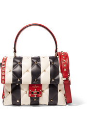 Valentino Valentino Garavani Candystud striped quilted leather shoulder bag