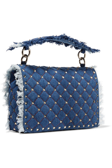 d668c3eca88 Valentino Garavani The Rockstud Spike medium quilted denim shoulder bag