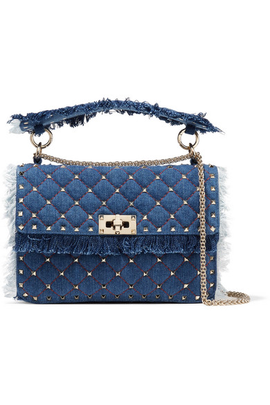 Rockstud Spike Medium Fringe Denim Shoulder Bag in Blue