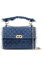 Valentino Valentino Garavani The Rockstud Spike medium quilted denim shoulder bag