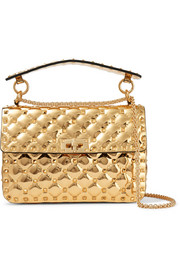 Valentino Garavani The Rockstud Spike metallic patent-leather shoulder bag