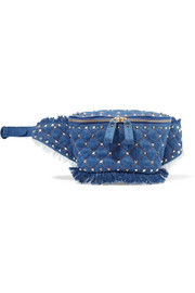 Valentino Garavani The Rockstud quilted denim belt bag